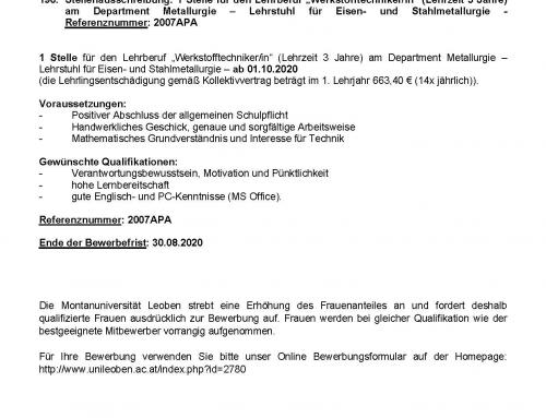 """Extended: Stellenausschreibung für Lehrberuf """"Werkstofftechniker/in"""""""